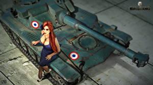 Картинки World of Tanks Танки Nikita Bolyakov Рыжая AMX ELC Девушки