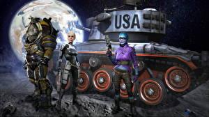 Фотографии World of Tanks Танки Mass Effect Американская Nikita Bolyakov Инопланетяне Andromeda, M24 Lunar Chaffee Фэнтези