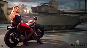Фотографии WOT Танки Мотоциклист Английский Nikita Bolyakov компьютерная игра Девушки Мотоциклы
