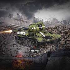 Обои World of Tanks Танки Т-34 Выстрел Русские Blitz