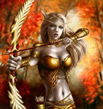 Фотография World of WarCraft Эльфы Лучники Воители Стрела Живот Лук оружие Игры Девушки Фэнтези