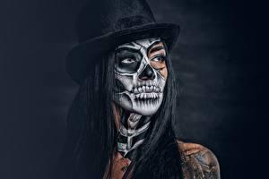 Фотография Мейкап Шляпа Брюнетка Взгляд day of the dead