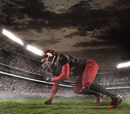 Фотографии Американский футбол Мужчины Униформа Шлем Руки Стадион Спорт