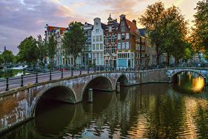 Фотография Амстердам Нидерланды Здания Реки Мосты Города