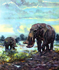 Обои Древние животные Зденек Буриан Platybelodon grangeri