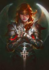 Картинки Ангелы Рыжая Броня Мечи Девушки