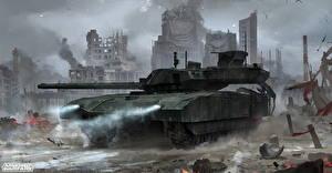 Обои Armored Warfare Танки Русские Foggy Armata