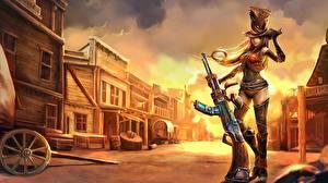 Фотография Автоматы League of Legends Улица Шляпа Sheriff Caitlyn Девушки Фэнтези