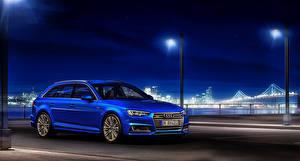Фотография Audi Синяя Ночью Универсал 2015 quattro Avant TDI Автомобили