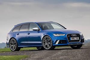 Фотографии Audi Синие Универсал Avant RS 6 машина