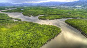 Обои Австралия Пейзаж Речка Леса HDR Сверху Portsmith Cairns Queensland Природа