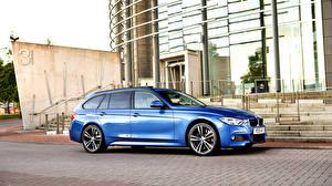 Обои для рабочего стола BMW Синяя Сбоку Универсал F31 2015 Touring Sport Автомобили