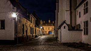 Фотографии Бельгия Дома Улица В ночи Уличные фонари Diest Города