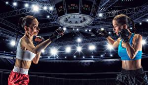Обои Бокс Двое Шатенка Руки Стадион молодые женщины Спорт