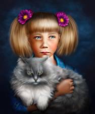 Обои Коты Рисованные Девочки Животные