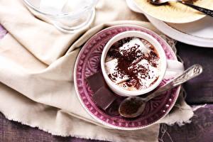 Картинки Шоколад Какао напиток Блюдце Чашка Маршмэллоу Ложка Продукты питания