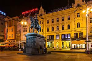 Фото Загреб Хорватия Здания Памятники Уличные фонари Города