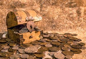 Картинки Монеты Сундук сокровищ