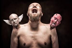 Картинка Креатив Мужчины Ангелы Демоны Крик Голова Disagreement