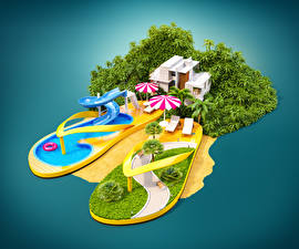 Картинки Креатив Тропики Курорты Бассейны Зонт Сланцы 3D Графика