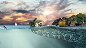 Обои Креатив Вода Море Тропики Крокодилы Утес