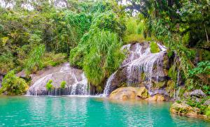 Картинки Куба Водопады Камень Кусты Cascadas El Nicho