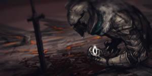 Картинка Dark Souls Рыцарь Мечи Шлем Fan ART Фантастика Фэнтези