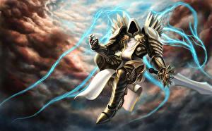 Обои Diablo III Демоны Воители Броня Мечи Tyrael Игры Фэнтези
