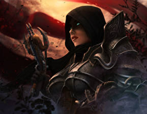 Картинка Diablo III Доспехи Арбалет Hunter Игры Девушки
