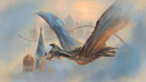 Фотографии Драконы Крылья Летящий Фантастика