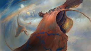Картинки Драконы Крылья Летящий Фантастика