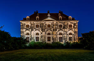 Картинки Дрезден Германия Здания Ночные Особняк