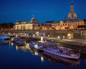 Фотографии Дрезден Германия Здания Река Корабль Причалы Уличные фонари Города