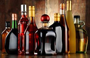 Фото Напитки Алкогольные напитки Много Бутылка Еда