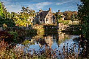 Обои Англия Замки Пруд Кусты Scotney Castle Города