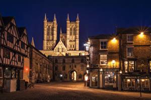 Фотографии Англия Дома Улица Ночь Уличные фонари Lincoln Города