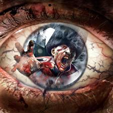 Фотографии Глаза Макросъёмка Зомби Отражение ZombiU Игры Фэнтези