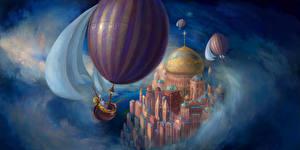 Картинки Фантастический мир Аэростат Фантастика