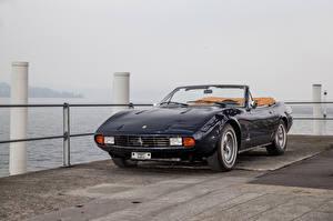 Картинки Феррари Винтаж Pininfarina Черный Металлик Кабриолет 1971 365 GTC4 Spyder Автомобили