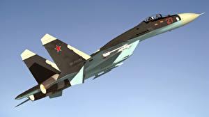 Фотографии Самолеты Истребители Российские Су-27 Авиация 3D_Графика