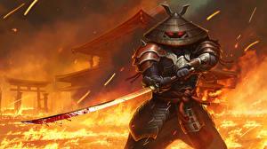 Картинки Огонь Воители Катана Самурай Мечи Шляпы Броне Кровь juggernaut wars yasi Игры