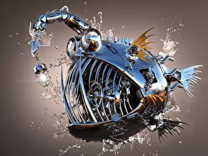 Обои Рыбы Оригинальные Клыки Робот Лампочка Металлический anglerfish Фантастика