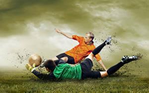 Фотография Футбол Мужчины Вдвоем Мяч Ноги Грязь Спорт
