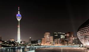 Фотография Германия Дома Ночь Башня Duesseldorf
