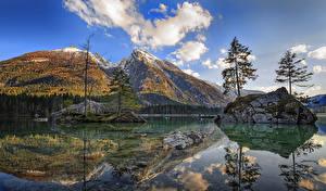 Обои Германия Горы Реки Пейзаж Утес Деревья Отражение Облака Berchtesgaden Природа