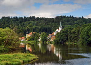 Фотография Германия Речка Леса Здания Ramspau Природа