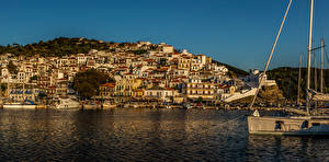 Фотографии Греция Здания Пирсы Море Берег Skopelos