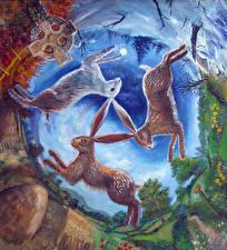 Фотографии Зайцы Рисованные Три Фантасмагория животное