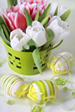 Картинка Праздники Пасха Тюльпаны Яйца Цветы