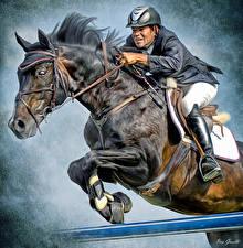 Фотографии Лошадь Конный спорт Мужчины Прыгать Шлем Спорт